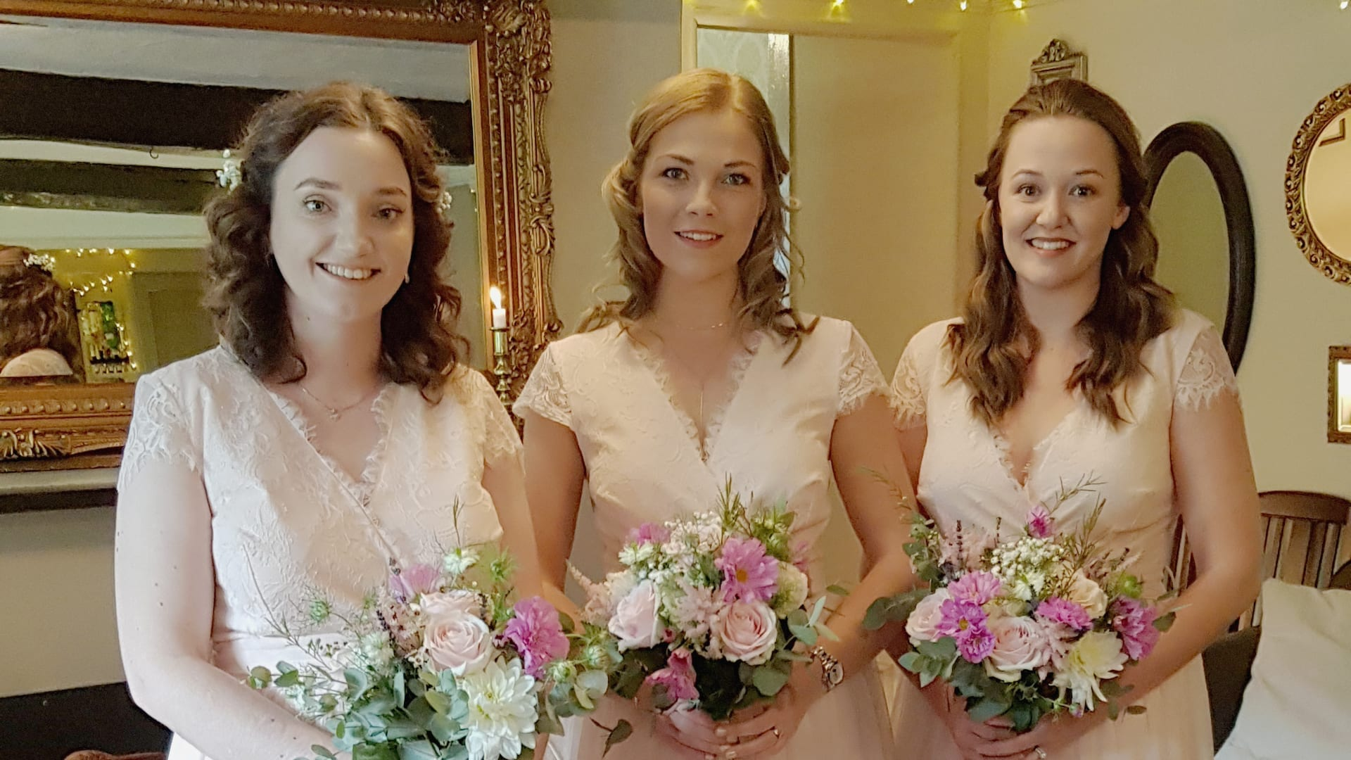 Bridesmaids ready for the wedding ceremony