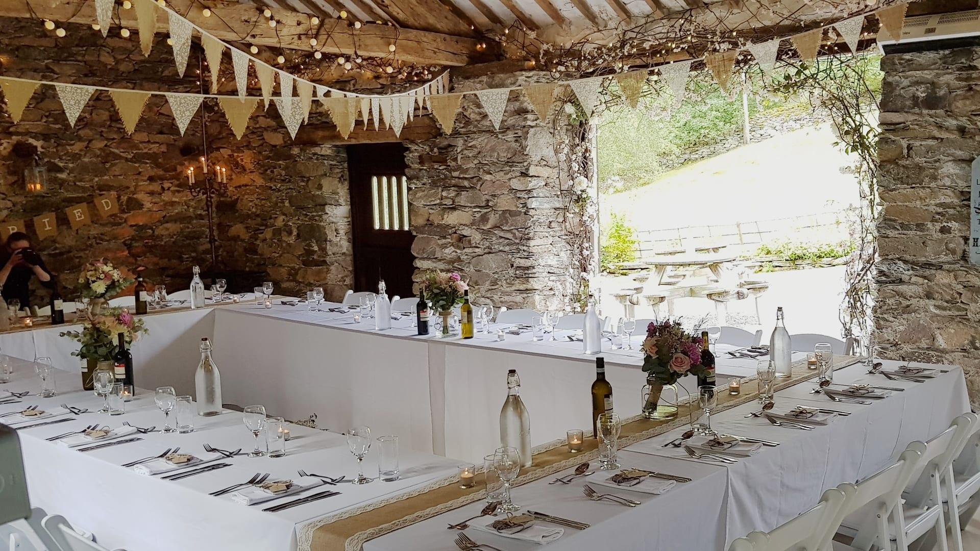 Rustic Barn Wedding Breakfast Set Up