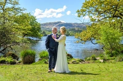 Just Married - Mature Bride and Groom at the Lake Edge of Rydal Water