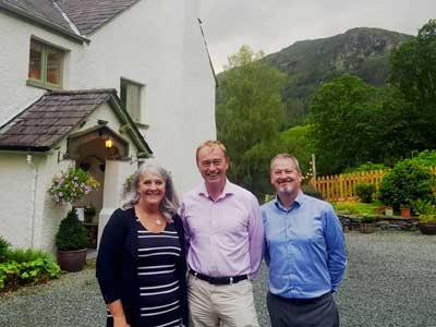 Tim Farron MP at Cote How with owners Caroline and Steve