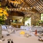 Wedding Breakfast set up in the wedding barn at Cote How