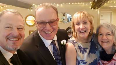 Older Couple - Just Eloped and celebrating their marriage, together with owners Caroline and Steve at Cote How