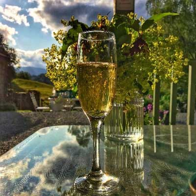 relaxing in the gazebo with a glass of bubbly!