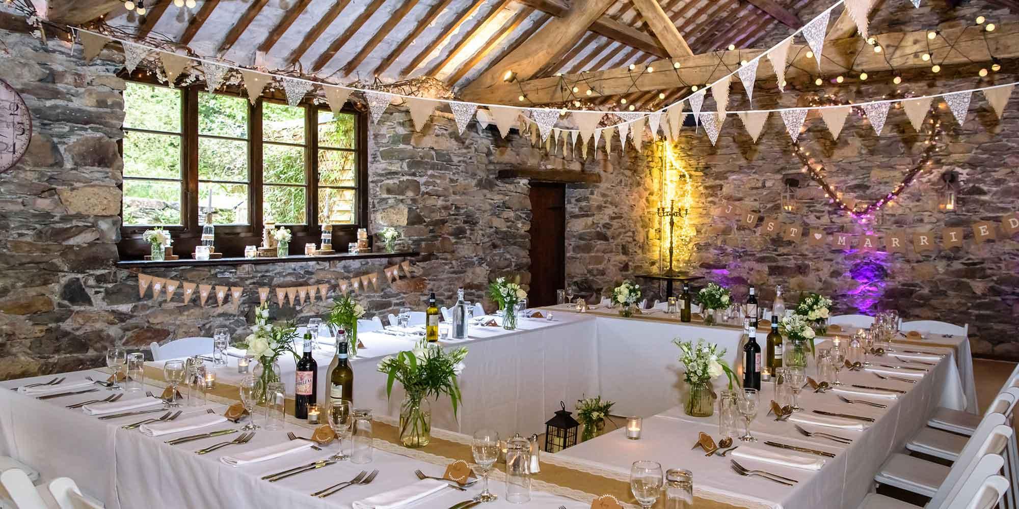 Small wedding breakfast in the barn