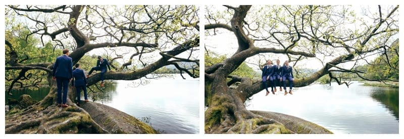 Cheeky-Groomsmen-sitting-in-the-oak-tree-at-Rydal-Water