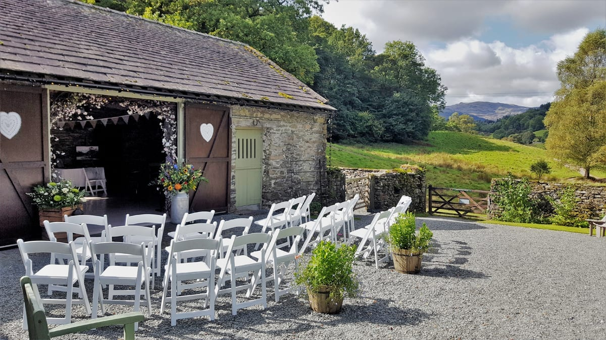 Outdoor Barn Wedding Ceremony