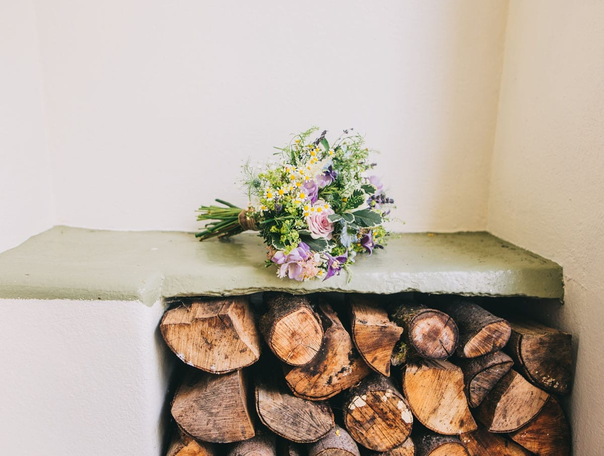Bridal Flower Bouquet in the porch at Cote How