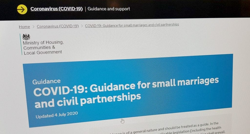 Covid-19 Guidance for small marriages and civil partnerships