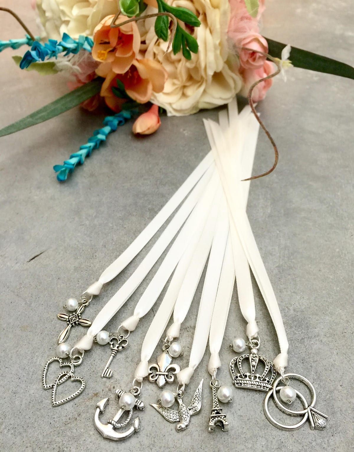 Wedding Cake charms on pretty ribbons