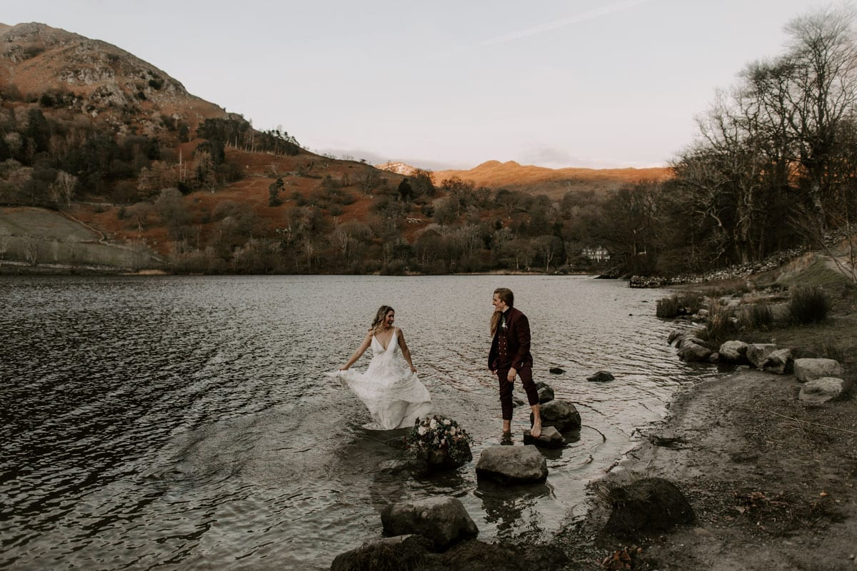 Couple-in-Rydal-Water-After-Cote-How-Elopement-Wedding