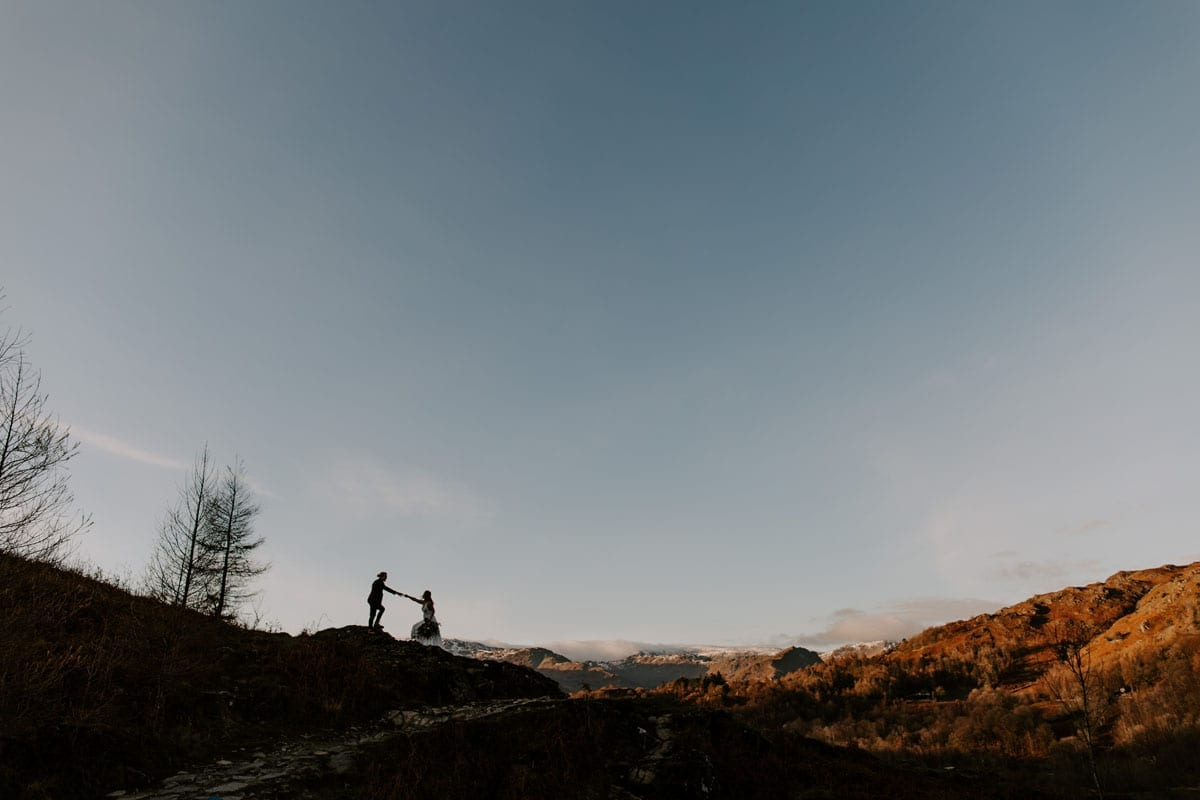 Adventure Couple on theiBride and Groom Silhouette on their Lake District Adventure Wedding Day - Jo Greenfield