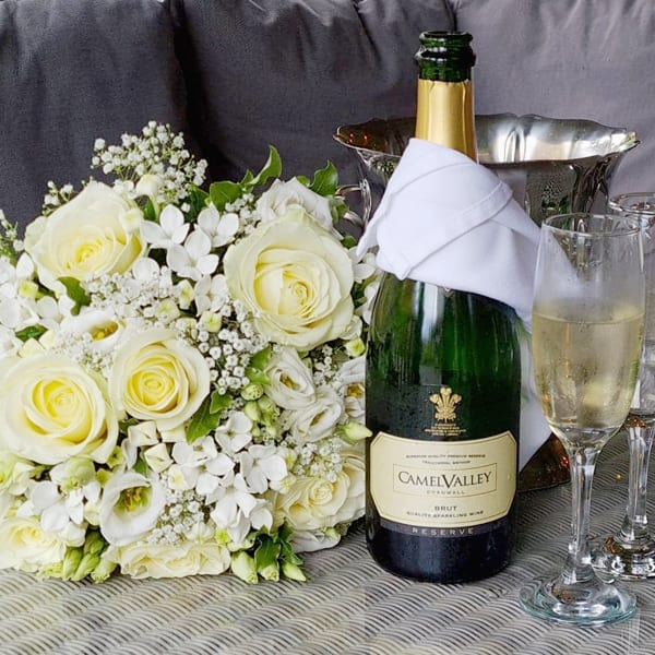 English Sparkling Wine and Bridal flower bouquet