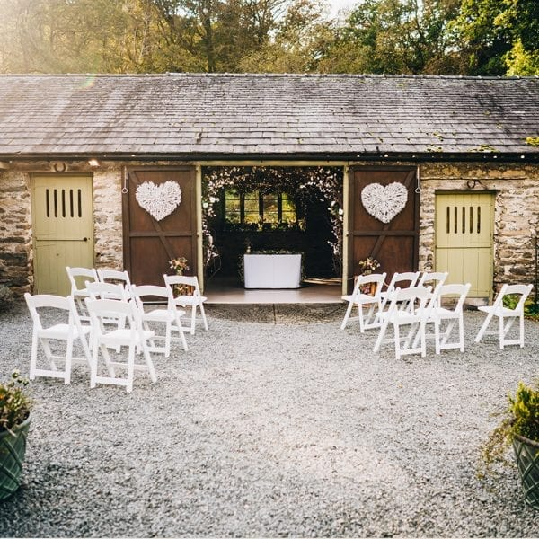 Outside Ceremony in Barn Courtyard