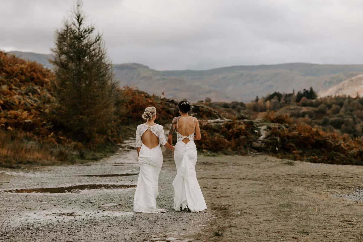 Two Brides in Rydal Walking after their wedding at Cote How