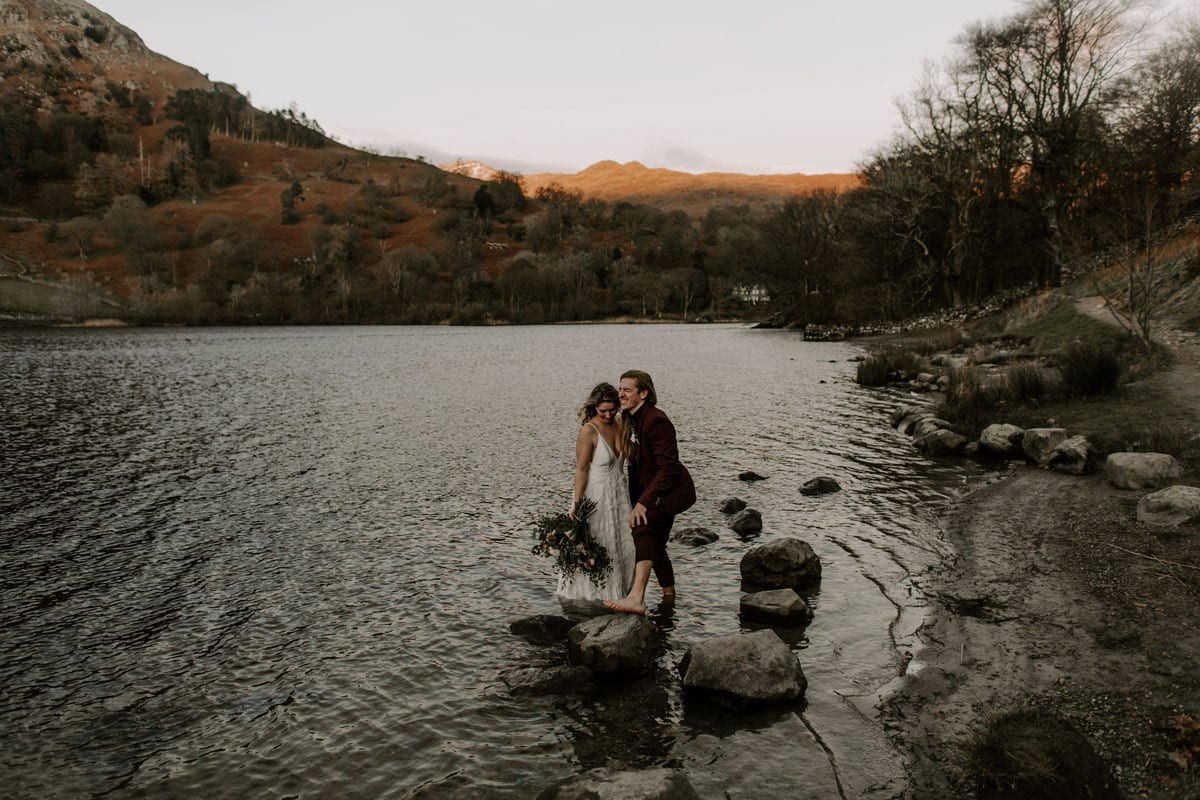 Bride and Groom on Rydal Water Lake District Adventure Elopement
