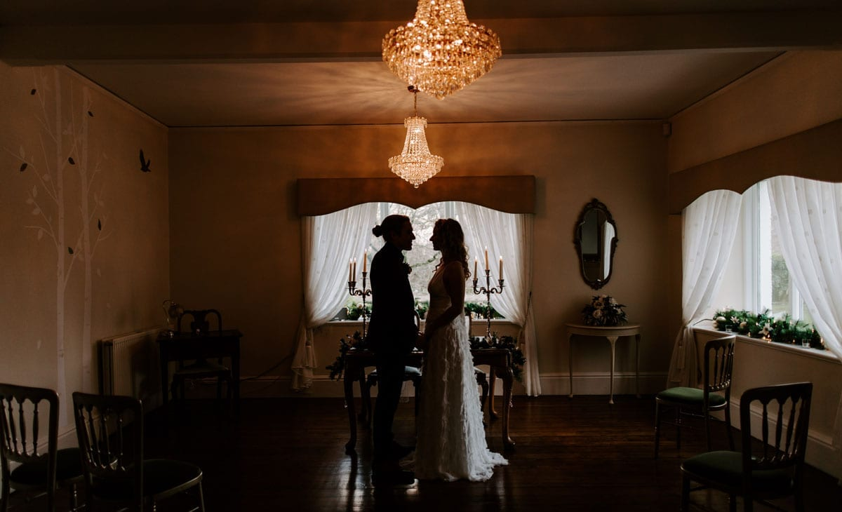 Wedding Couple in Silhouette at Lake District wedding Venue