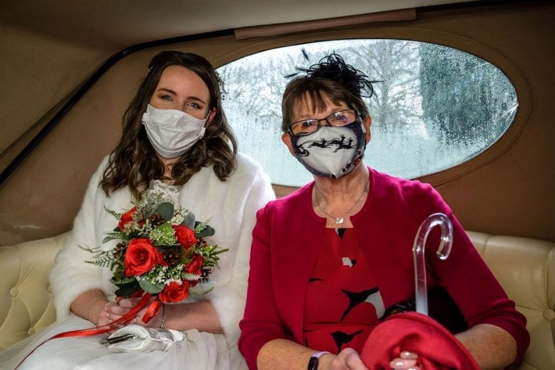 Bride and Her Mum waiting in the Car outside Cote How