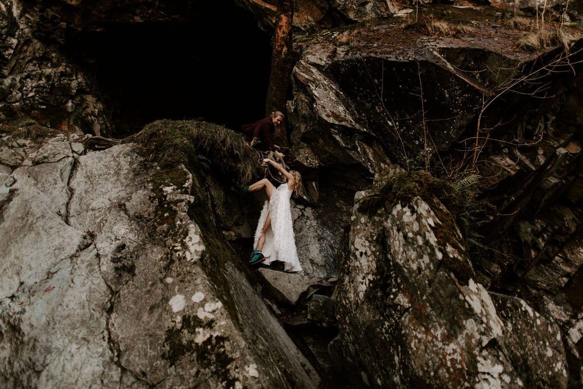 Rock Climbing Couple at their Lake District Adventure Wedding