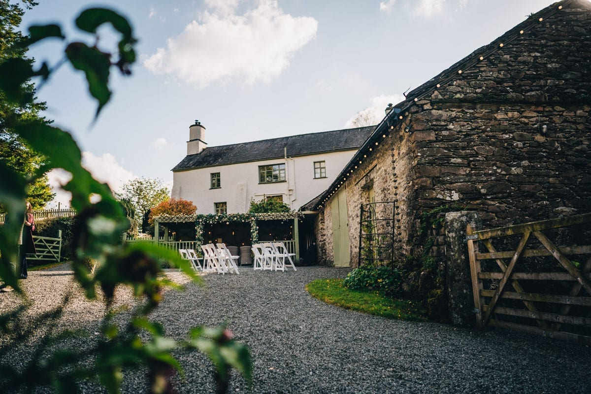 White house and slate Wedding Barn at Cote How in The Lakes