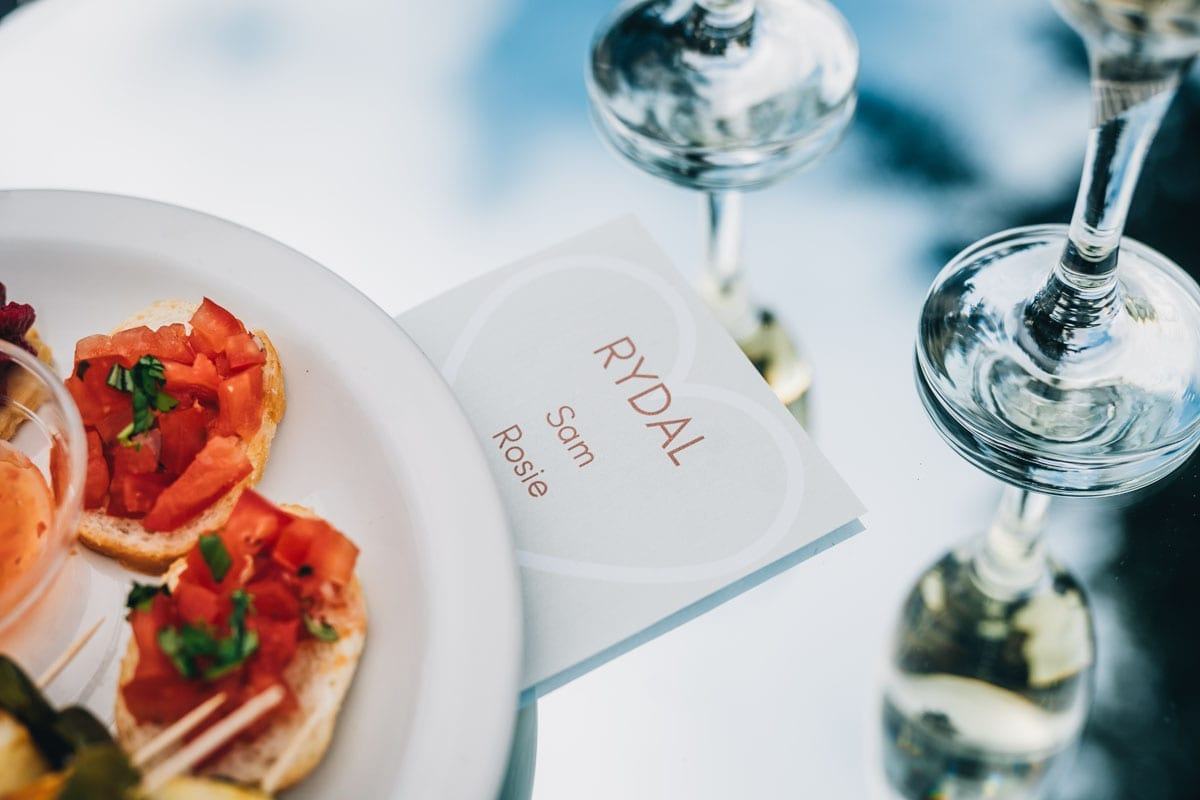 Canapes and Proseeco toast set out in household bubbles in Covid-Secure Wedding Venue