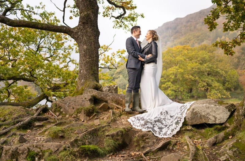 Wedding couple photographed by Rydal Water