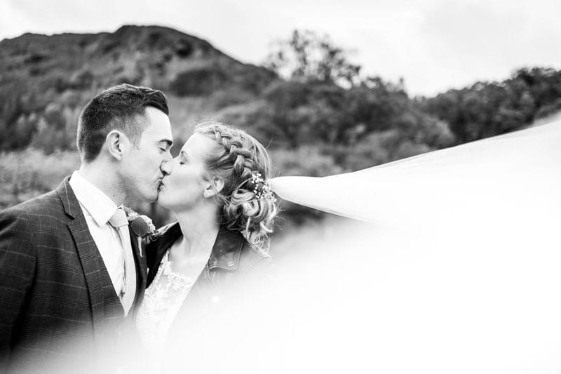 New Mr and Mrs veil blowing in the wind