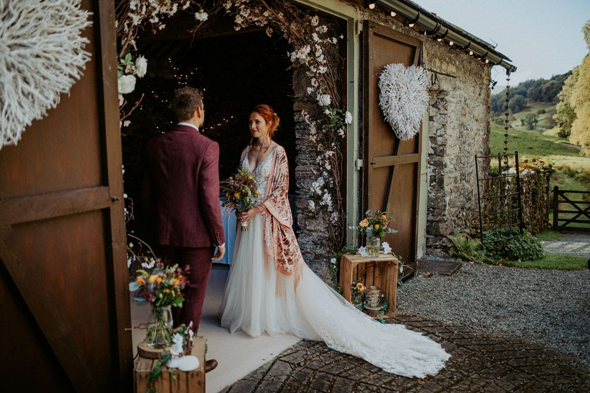 Wedding ceremony outside the barn at Cote How