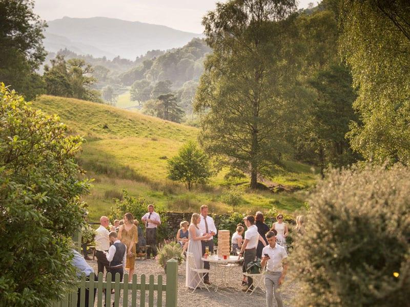 Evening Barn Courtyard Wedding Reception by Tom McNally