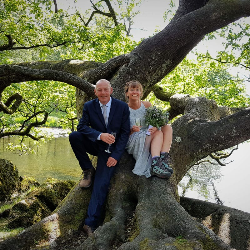 Lake District elopement wedding Couple sitting in oak tree on Rydal Water