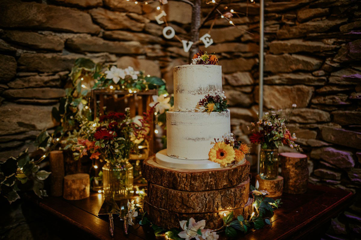 Cote How Semi Naked Two Tier Luxury Wedding Cake in Wedding Barn